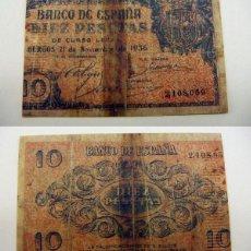 Reproducciones billetes y monedas: BILLETE REPRODUCCION FASCIMIL 10 PESETAS BURGOS 1937. Lote 189965617