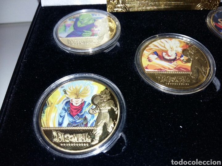 Reproducciones billetes y monedas: Lote Monedas dragon ball z en caja. Reproducción en metal. - Foto 2 - 190871608