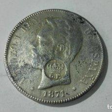 Reproducciones billetes y monedas: MONEDA AMADEO I, 5 PESETAS, AÑO 1871, REPRODUCCION. Lote 191145071