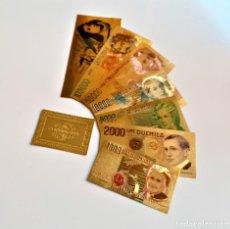 Reproducciones billetes y monedas: ITALIA AUTENTICA COLECCION 7 BILLETES ORO REAL 24.KILATES BAÑADOS LIRE LIRAS + CERTIFICADO. Lote 221728067