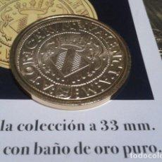 Reproducciones billetes y monedas: MONEDA 4 DUCADOS CARLOS I SIN FECHA VALENCIA BAÑO DE ORO PURO Y CERTIFICADO DE LA FNM. Lote 191639352