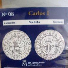 Reproducciones billetes y monedas: REPRODUCCIÓN MONEDA 4 DUCADOS CARLOS I CON BAÑO DE ORO PURO . Lote 191643907