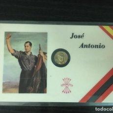 Reproducciones billetes y monedas: TARJETAS CONMEMORATIVAS PEQUEÑA MONEDA BAÑADA EN ORO JOSÉ ANTONIO PRIMO DE RIVERA. Lote 191655140