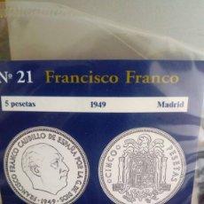 Reproducciones billetes y monedas: REPRODUCCIÓN MONEDA 5 PESETAS 1949 FRANCISCO FRANCO CON BAÑO DE PLATA PURA . Lote 191794581