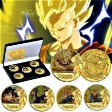 Reproducciones billetes y monedas: DRAGON BALL Z GOKU VEGETA COLECCIÓN SET 5 MONEDAS CONMEMORATIVAS DE ORO 24.KT. BAÑADAS + CERTIFICADO. Lote 192118691