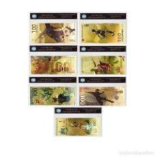 Reproducciones billetes y monedas: SERIE COMPLETA DE LOS 7 BILLETES CONMEMORATIVOS DE RUSIA 2018, BAÑADOS EN ORO DE 24 K.. Lote 192665532