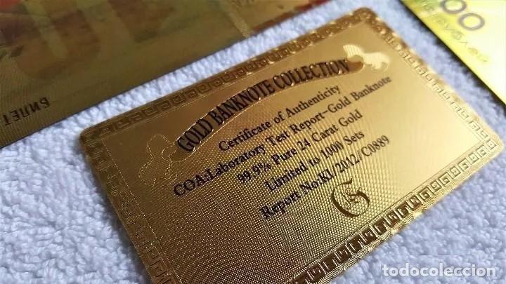 Reproducciones billetes y monedas: SERIE COMPLETA DE LOS 7 BILLETES CONMEMORATIVOS DE RUSIA 2018, BAÑADOS EN ORO DE 24 K. - Foto 4 - 192665532
