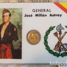 Reproducciones billetes y monedas: CARNET CONMEMORATIVO MILLÁN ASTRAY CON MONEDA. Lote 192979700