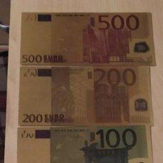 Reproducciones billetes y monedas: BILLETES EURO DORADOS. Lote 193022786
