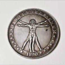 Reproducciones billetes y monedas: PLURIBUS UNUM 1890 MORGAN ONE DOLLAR ESTADOS UNIDOS DE AMERICA MUY RARA - 36.MM DIAMETRO. Lote 204992976