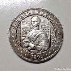Reproducciones billetes y monedas: PLURIBUS UNUM 1895 MORGAN ONE DOLLAR ESTADOS UNIDOS HOBO MONA LISA LEONARDO DA VINCI -36.MM DIAMETRO. Lote 221309215