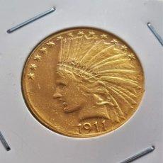 Reproductions billets et monnaies: USA MONEDA ORO 24 KT. CHAPADO 1911 $10 TEN DOLLARS INDIAN - 9.46.GRAMOS - 28.MM DIAMETRO. Lote 193970215