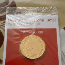 Reproducciones billetes y monedas: REPRODUCCIÓN AUTORIZADA FNMT CON BAÑO DE ORO PURO 20 PESETAS. Lote 221721820