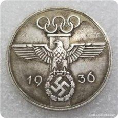 Reproducciones billetes y monedas: MONEDA 3 III REICH.JUEGOS OLÍMPICOS 1936.OLYMPISCHEN SPIELEN.ERA NAZI CON ESVÁSTICAHITLER PRE WWII. Lote 244951110