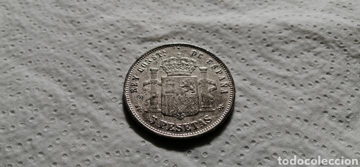 Reproducciones billetes y monedas: Reproducción de 5 pesetas de 1890 - Foto 2 - 194179892
