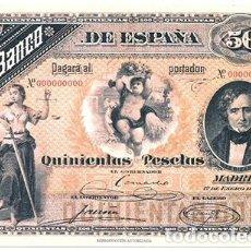 Reproducciones billetes y monedas: REPRODUCCION BILLETE DE ESPAÑA 500 PESETAS 1-ENE-1884 - BILL-257. Lote 194380535