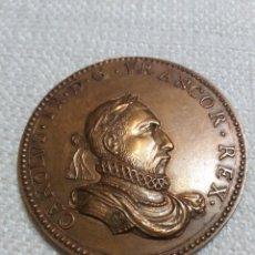 Reproducciones billetes y monedas: MEDALLA BRONCE CAROLVS IX D.G. FRANCO R. REX. Lote 194585795