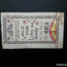 Reproducciones billetes y monedas: CUPÓN DE RACIONAMIENTO.. 1941.VALE POR 1 LITRO DE ACEITE... ALCANTARILLA.MURCIA.... EL DE LAS FOTOS. Lote 194619062