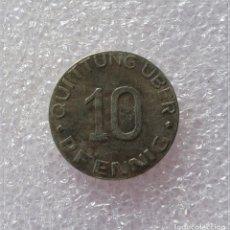 Reproducciones billetes y monedas: MONEDA 3 III REICH.GUETO JUDÍO POLONIA 1942 ALEMANIA HITLER NAZI.SEGUNDA GUERRA MUNDIAL 10 PFENNING. Lote 194742175