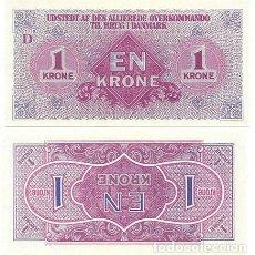 Reproducciones billetes y monedas: REPRODUCCION BILLETE. ALIADOS EN DINAMARCA. 1 CORONA 1945. COLECCIÓN EL MUNDO - BILL-722. Lote 194766578