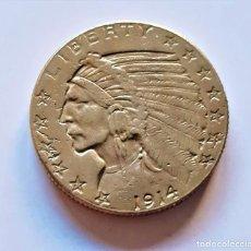 Reproducciones billetes y monedas: AMÉRICA U.S.A. MONEDA DE ORO CHAPADO 5 DOLLARS 1914 INDIAN HEAD - 8.24.GRAMOS - 22.MM DIAMETRO. Lote 194943678