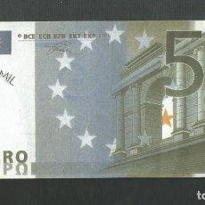 Reproducciones billetes y monedas: FACSIMIL BILLETE 5 EUROS - CUANTO CUESTA UN EURO - VALLADOLID. Lote 194979483