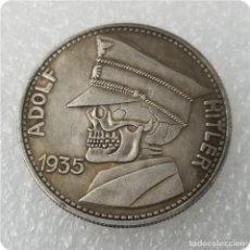 Reproducciones billetes y monedas: MONEDA 3 III REICH.ADOLF HITLER CON CABEZA. DE CALAVERA 1935 5 RM REICHSMARK .ERA NAZI PRE WWII. Lote 195004707