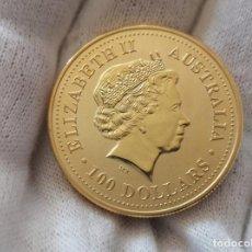 Reproducciones billetes y monedas: MONEDA DE ORO 100 DOLARES 2000 SERPIENTE. Lote 195398248