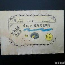 Reproducciones billetes y monedas: VALE POR 1 KG DE HARINA. 1939..RIAZA..SEGOVIA ... ..ES EL DE LAS FOTOS. Lote 195464842