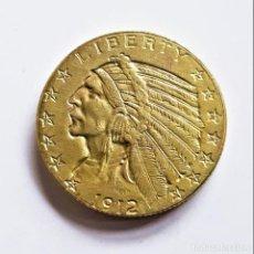 Reproducciones billetes y monedas: AMÉRICA U.S.A. MONEDA DE ORO CHAPADO 5 DOLLARS 1912 INDIAN HEAD - 8.29.GRAMOS - 22.MM DIAMETRO. Lote 195508657