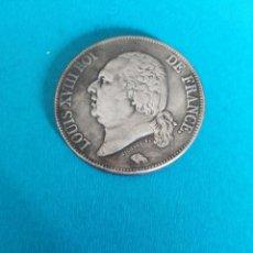Reproducciones billetes y monedas: 5 FRANCOS 182 LUIS XVIII MUY BONITA BAÑO DE PLATA REPLICA. Lote 196505910