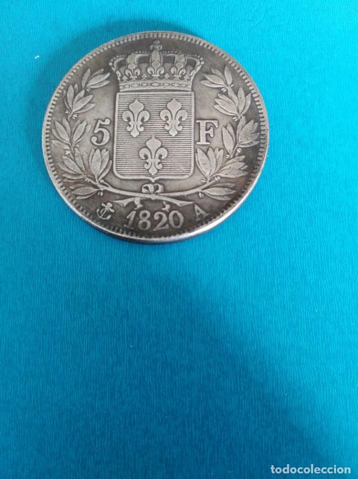 Reproducciones billetes y monedas: 5 francos 1820 Luis XVIII muy bonita baño de plata replica - Foto 2 - 196505910