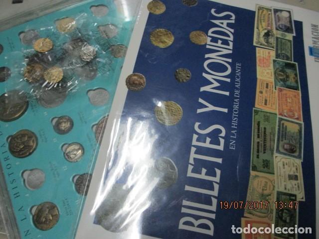 Reproducciones billetes y monedas: HISTORIA DE ALICANTE BILLETES Y MONEDAS COMPLETO ALBUM Y VITRINA DE MONEDAS - Foto 8 - 159837954
