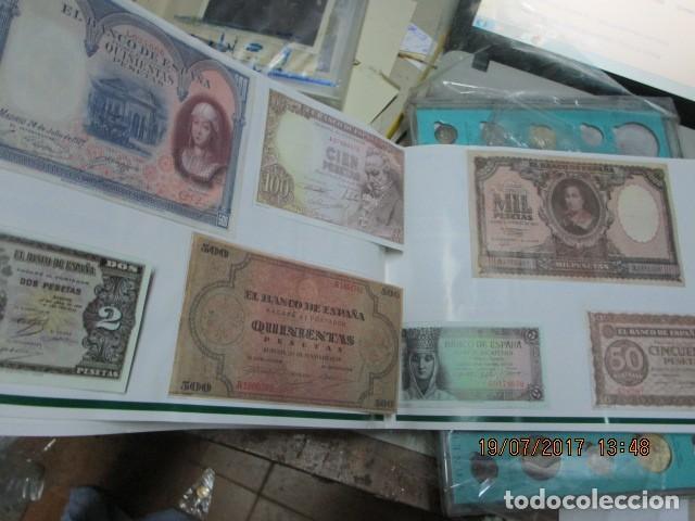 Reproducciones billetes y monedas: HISTORIA DE ALICANTE BILLETES Y MONEDAS COMPLETO ALBUM Y VITRINA DE MONEDAS - Foto 11 - 159837954