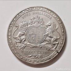 Reproducciones billetes y monedas: GRAN BRETAÑA REINA VICTORIA 1887 5 SHILLINGS - 38.MM DIAMETRO. Lote 221741258
