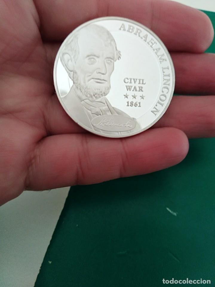 ONZA DE PLATA USA CONMEMORATIVA ABRAHAM LINCOLN GUERRA SECESIÓN 1861 BAÑO DE PLATA (Numismática - Reproducciones)
