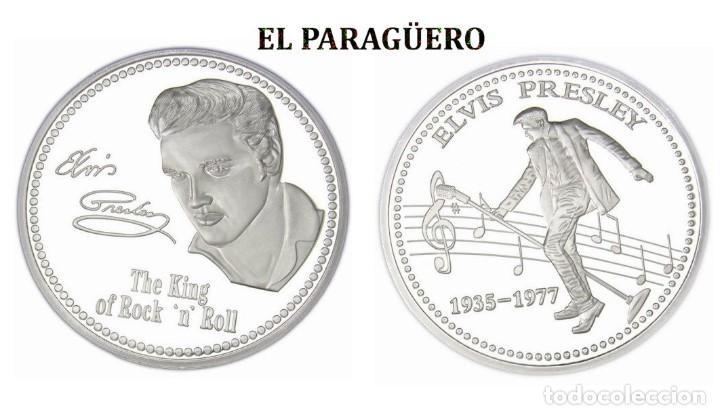 MEDALLA TIPO MONEDA PLATA ( ANIVERSARIO DE ELVIS PRESLEY REY DEL ROCK NROLL ) - PESO 37 GRAMOS - Nº6 (Numismática - Reproducciones)