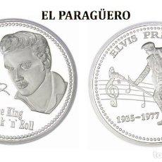 Reproducciones billetes y monedas: MEDALLA TIPO MONEDA PLATA ( ANIVERSARIO DE ELVIS PRESLEY REY DEL ROCK NROLL ) - PESO 37 GRAMOS - Nº6. Lote 199430436