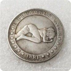 Reproducciones billetes y monedas: MONEDA CHICA SEXY HENTAI MANGA DOLAR USA 1881. Lote 244951105