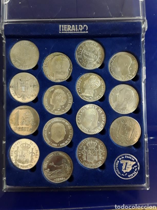 Reproducciones billetes y monedas: Monedas de la historia de la peseta en plata - Foto 2 - 199505425