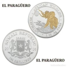 Reproducciones billetes y monedas: SOMALIA 100 SHILLINGS MEDALLA PLATA Y ORO TIPO MONEDA (ELEFANTE AFRICANO)PESO 33 GRA LEER DENTRO-N2. Lote 200083155