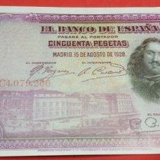 Reproducciones billetes y monedas: BILLETE 50 PESETAS 15 DE AGOSTO DE 1928 FACSÍMIL. Lote 201919197