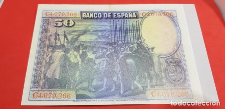 Reproducciones billetes y monedas: BILLETE 50 PESETAS 15 DE AGOSTO DE 1928 FACSÍMIL - Foto 2 - 201919197