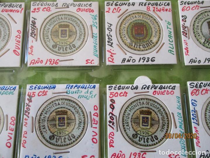 Reproducciones billetes y monedas: LOTE DE 99 CARTONES MONEDAS DE USO PROVISIONAL. 2ª REPUBLICA ESPAÑOLA. LEASE LAS CIUDADES MONEDAS: - Foto 2 - 202352561