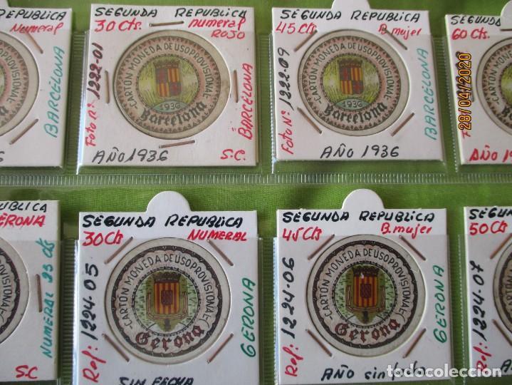 Reproducciones billetes y monedas: LOTE DE 99 CARTONES MONEDAS DE USO PROVISIONAL. 2ª REPUBLICA ESPAÑOLA. LEASE LAS CIUDADES MONEDAS: - Foto 4 - 202352561