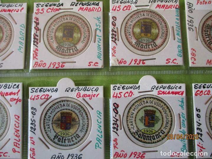 Reproducciones billetes y monedas: LOTE DE 99 CARTONES MONEDAS DE USO PROVISIONAL. 2ª REPUBLICA ESPAÑOLA. LEASE LAS CIUDADES MONEDAS: - Foto 6 - 202352561
