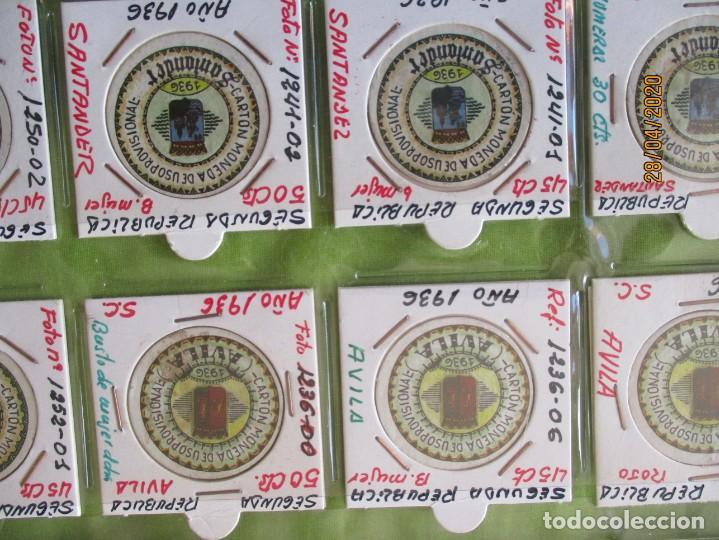 Reproducciones billetes y monedas: LOTE DE 99 CARTONES MONEDAS DE USO PROVISIONAL. 2ª REPUBLICA ESPAÑOLA. LEASE LAS CIUDADES MONEDAS: - Foto 8 - 202352561