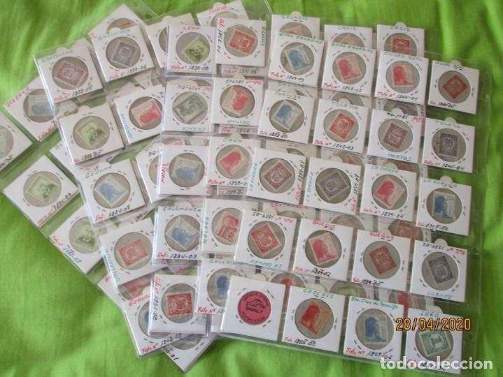 Reproducciones billetes y monedas: LOTE DE 99 CARTONES MONEDAS DE USO PROVISIONAL. 2ª REPUBLICA ESPAÑOLA. LEASE LAS CIUDADES MONEDAS: - Foto 12 - 202352561