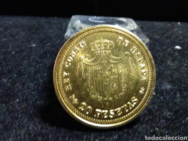 Reproducciones billetes y monedas: Moneda alfonso XIII 1892 baño de oro puro acuñada real casa de moneda y timbre - Foto 2 - 202537630