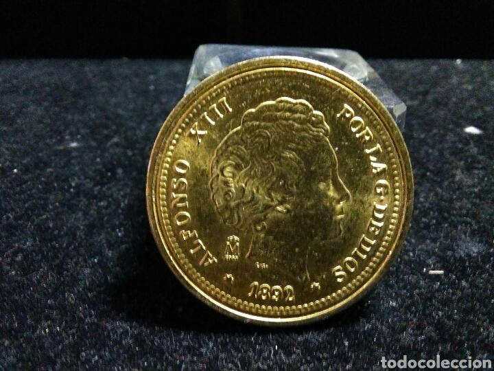 Reproducciones billetes y monedas: Moneda alfonso XIII 1892 baño de oro puro acuñada real casa de moneda y timbre - Foto 6 - 202537630